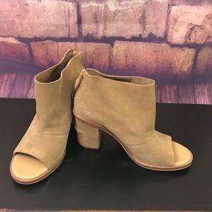 Ugg Suede Peep Toe Block Heel Shoes/Booties